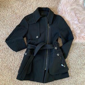 Zara black lined winter coat